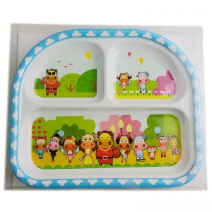 9inch Melamine kids compartment meal plate made in china